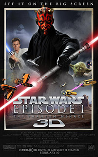 Star Wars The Phantom Menace 3D movie poster