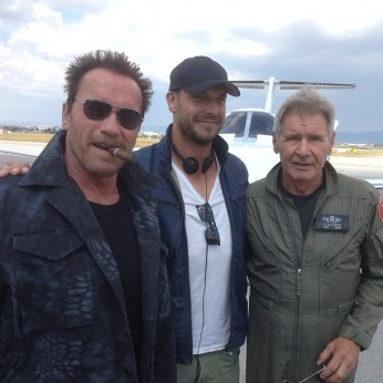 Harrison Ford, Arnold Schwarzenegger on the Set of The Expendables 3