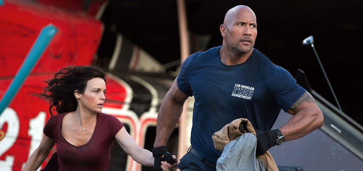 Dwayne Johnson and Carla Gugino in San Andreas movie.