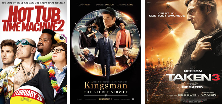 New Posters for Hot Tub Time Machine 2, Kingsman, Taken 3 and More