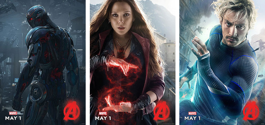 Ultron, Scarlet Witch and Quicksilver Character Posters for Avengers: Age of Ultron