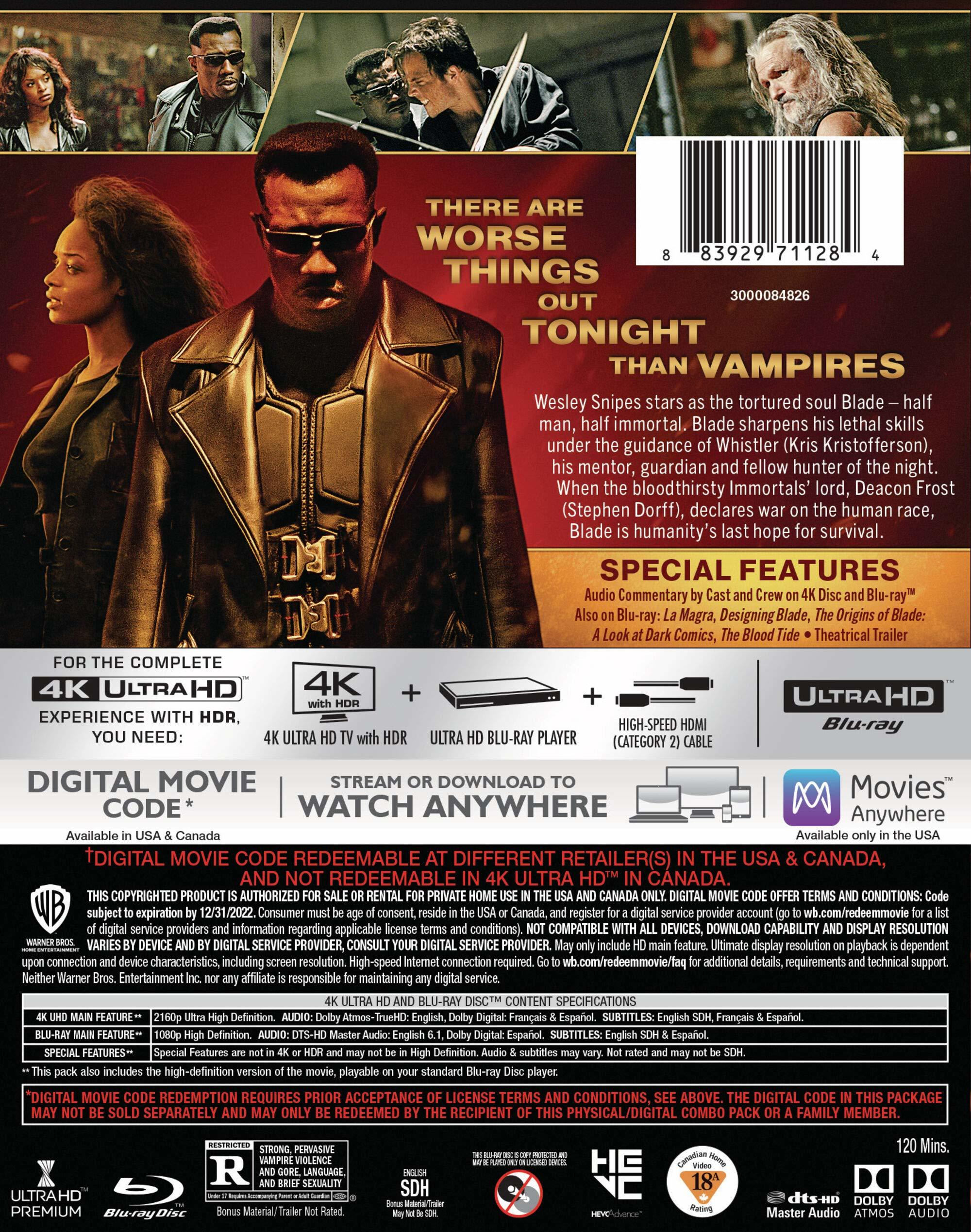 blade 4k uhd bluray back cover